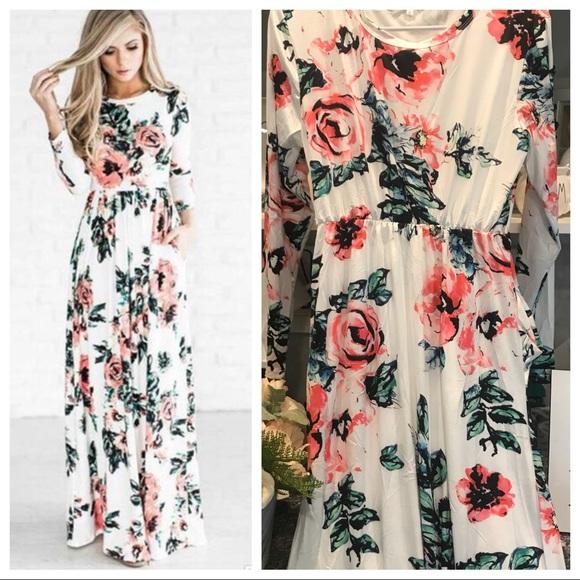ac60429a4bb6e Dresses | White Maxi Dress Long Sleeve Floral Summer Dress | Poshmark
